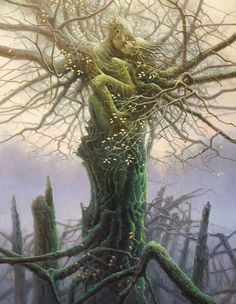 """DRYAD [noun] tree nymphs in Greek mythology. In Greek, drys signifies """"oak"""", from an Indo-European root *derew(o)- """"tree"""" or """"wood"""", thus dryads are specifically the nymphs of oak trees though the. Magical Creatures, Fantasy Creatures, Fantasy Kunst, Fantasy Art, Art Amour, Art Visionnaire, Tree People, Nature Spirits, Visionary Art"""
