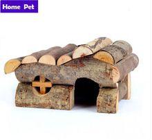 Hamster casa de madeira Retro pequeno papagaio Hamster Animal de estimação gaiola casa de madeira M6(China (Mainland))