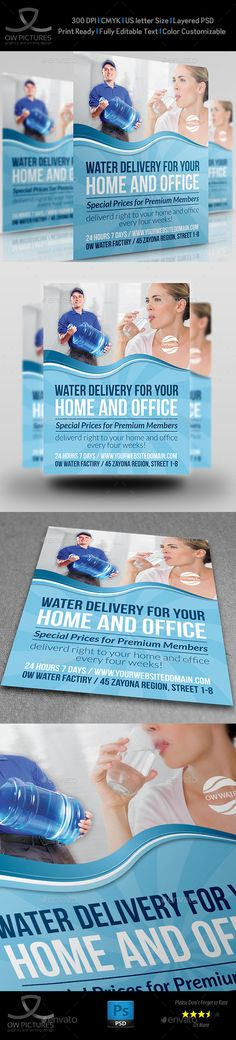 Delivery Drinking Water Service Flyer Template PSD. Download here: http://graphicriver.net/item/delivery-drinking-water-service-flyer/13953346?s_rank=259&ref=yinkira