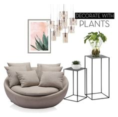 """""""decorate with plants"""" by nolica ❤ liked on Polyvore featuring interior, interiors, interior design, home, home decor, interior decorating, Art Addiction, NDI, plants and planters"""