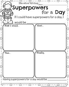 Kindergarten Writing Worksheet for February - Narrative Writing Prompt Superpowers for a Day.
