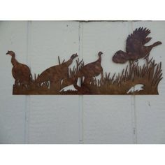 Pheasants in Grass Metal Wall Art Country Rustic Home Decor