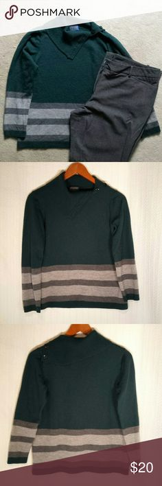 Pendleton Forest Green Sweater Pendleton Forest Green sweater with light and medium gray stripes at waist and cuffs. 4 button collar that may be worn open or buttoned as a turtleneck.  Very soft and warm.  97% merino wool and 3% nylon.  Tag says large but fits a medium since I accidentally put it in my dryer.  My loss is your gain.    Like new condition. No rips, stains, or pilling.  Smoke free house.   Reasonable offers are accepted and I discount bundles. Pendleton Sweaters