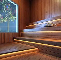 Unique Home Interior Saunas, Sauna Steam Room, Sauna Room, Turkish Bath House, Sauna Lights, Sauna A Vapor, Sauna Seca, Diy Sauna, Sauna House