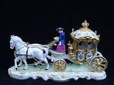 VINTAGE SANDIZELL DRESDEN COACHMAN HORSE DRAWN CARRIAGE W/ CINDERELLA FIGURINE