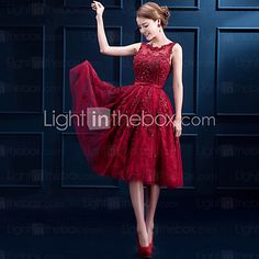 Cocktail Party Dress A-line Scoop Tea-length Lace with Buttons / Lace 2016 - $107.99