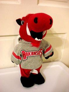 "NCAA Arkansas Razorbacks Hogs Mascot Gray Hoodie Plush Toy 14""  #ArkansasRazorbacks"
