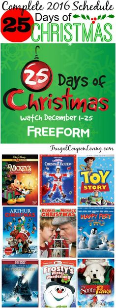 Freeform 25 Days of Christmas 2016 movie schedule on Frugal Coupon Living.