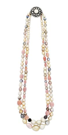 Lot 334 is not the most expensive or even the most beautiful, but it is intriguing: a late 19th century conch pearl necklace with a mix of natural and nubby conch pearls (estimate: £3,000-5,000). Christie's Important Jewels Sale on 26 November at King Street in London.