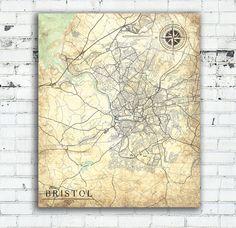 BRISTOL UK Vintage map Bristol England City Print Vintage map Bristol United Kingdom Art map Print poster retro old Great Britain map Europe