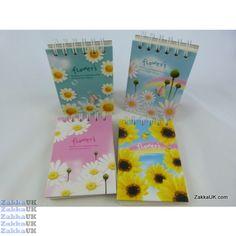 Kawaii Notebooks - Flower's Design - Hardback Spiral Bound (24 books - 4 Assorted Designs) Novelty Rubbers Erasers Kawaii Stationery Wholesales