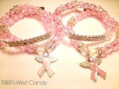 Breast Cancer Beaded Bracelet Set by RandRsWristCandy on Etsy, $9.00