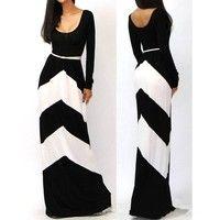2014 new fashion summer autumn women's long dress sexy belt geometric stripe sleeve mop floor dress $18