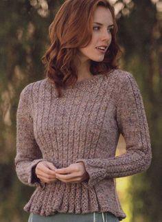Пуловер Giulietta с баской и узором из кос https://shemyuzorov.com/pulover-giulietta-s-baskoj-i-uzorom-iz-kos.html