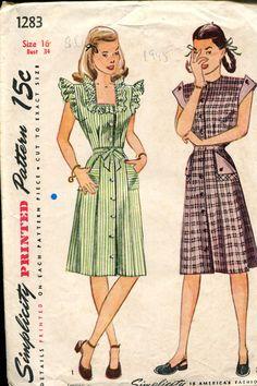 50% OFF 1940s Dress Pattern Simplicity 2119 by retromonkeys