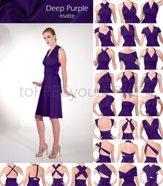 Short infinity dress in DEEP PURPLE matte, A-LINE Free-Style Dress, convertible dress, cocktail party dress, convertible wrap dress, bridal