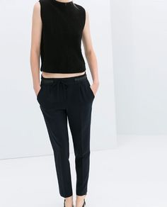 Image 2 of TROUSERS WITH FAUX LEATHER WAIST from Zara