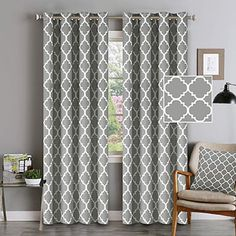 New Gray Blackout Curtains Grommet Top Curtains Thermal Insulated Cutrains Natural Effect Highly Durable Panels x 84 - Set 2 Panels- Mild Gray Moroccan Tile Quatrefoil Pattern online shopping - Topusashoppingsites Printed Curtains, Kids Curtains, Cool Curtains, Grommet Curtains, Window Curtains, Curtains Living, Curtain Panels, Window Panels, Grey Blackout Curtains