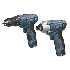#Erbauer ERP408KIT 10.8V 1.3Ah Li-Ion Twin Pack #Compact and lightweight drill driver and impact driver with soft-grip handles and LED site light. Both feature fan-cooled motors and electric brakes. Supplied with 2 x 1.3Ah Li-ion batteries, 30-minute charger, 4 x high quality Pozi #2 bits and carry case.