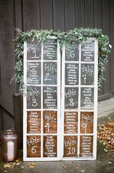 vintage window wedding seating chart ideas chart wedding ideas 18 Chic Wedding Table Seating Chart Sign Ideas to Love - EmmaLovesWeddings Reception Seating Chart, Table Seating Chart, Wedding Reception Seating, Seating Chart Wedding, Wedding Table Assignments, Wedding Ceremony, Table Wedding, Window Seating Charts, Wedding Seating Display