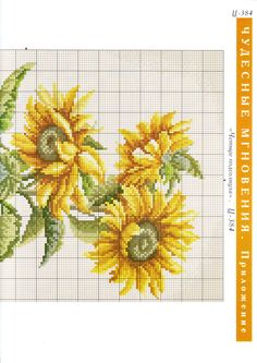 Cross-stitch Sunflowers in a Vase, part 3.. color chart on part 1
