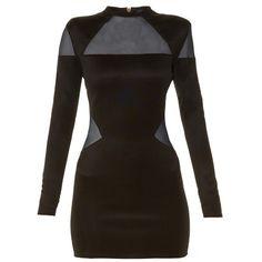 Balmain Mesh-insert mini dress ($1,565) ❤ liked on Polyvore featuring dresses, black, mesh insert dress, figure hugging dress, balmain dress, form fitting cocktail dresses and sheer mesh dress