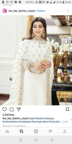 Loving this white traditional look by 🌟 Pakistani Couture, Indian Couture, Pakistani Bridal, Indian Attire, Indian Wear, Indian Outfits, Pakistani Wedding Outfits, Pakistani Dresses, Bridal Outfits