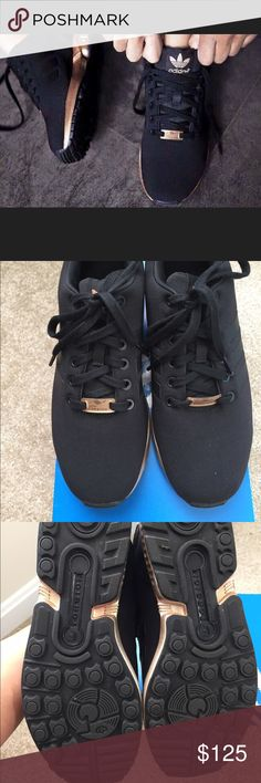 Adidas Original ZX Flux Women's Running Shoe Adidas Original ZX Flux Women's Running Shoes  NEW!!! Black Copper Metallic Sneakers in Women's Size 8.  I absolutely love these sneakers and hate to part with them. Unfortunately these are too big for me. I should've gotten a smaller size. Only wore them once for about an hour or so and put them back in the box.   Item runs .5 size big. Suggest you wear a .5 size smaller than your normal shoe size to fit properly. So if you wear a size 8.5 these…