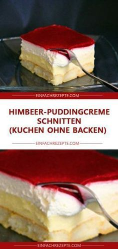 Himbeer-Puddingcreme Schnitten (Kuchen ohne Backen) – Page 2 Raspberry pudding cream slices (cake without baking) -. Easy Cake Recipes, Dessert Recipes, Dessert Oreo, Food Cakes, Baking Cakes, Fall Desserts, Ice Cream Recipes, No Bake Cake, Food And Drink