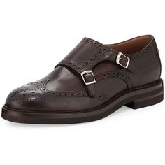 Brunello Cucinelli Leather Monk-Strap Wing-Tip Loafer ($1,240) ❤ liked on Polyvore featuring mens, men's shoes, men's dress shoes and brown