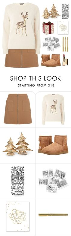 """""""Set For Adele"""" by dianakhuzatyan ❤ liked on Polyvore featuring Dorothy Perkins, National Tree Company, UGG, SS Print Shop, Clarins, Christmas and polyvoreeditorial"""