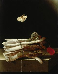 Adriaen Coorte, Still Life with a Bundle of Asparagus, Red Cherries and a Butterfly, c. 1693 – 1695. Oil on paper on wood, 25.6 x 19.8 cm. Private collection