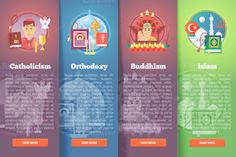 Flat Religion and Confession Banners by painterr on @creativemarket