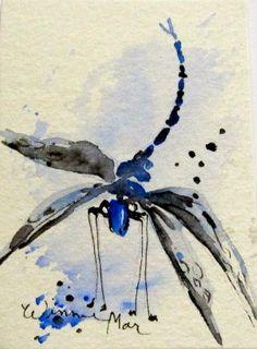 DRAGONFLY PAINTING ACEO original watercolor by WinnieMarsArtWorks, $4.00
