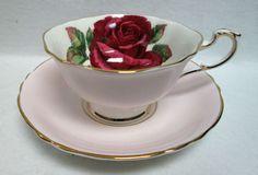 Vintage tea party PARAGON pink RED ROSE teaCup & Saucer Ebay $180+$20s/p 4/2016  #Paragon