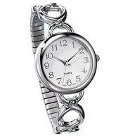 Easy-to-Read Silvertone Link Watch
