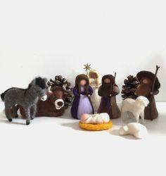 Krippen - Krippenfiguren ~ Heilige Familie ~ Filz ~ gefilzt - ein Designerstück von DieKleineFilzMaus bei DaWanda