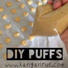 Baby Puffs Recipe: 1 c happy bellies organic brown rice cereal with probiotics 1 T unrefined coconut oil 1/2 pouch of apple sauce (2 1/2 tablespoons) 1/2 of veggie pouch (2 1/2 tablespoons) 2 egg whites 1 t baking powder 2-4 T filtered water