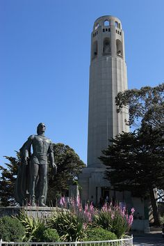 Coit Tower is one of the famous landmarks which stands atop Telegraph Hill in San Francisco Coit Tower San Francisco, Fisherman's Wharf San Francisco, San Francisco California, California Dreamin', Transamerica Pyramid, Interesting Buildings, Interesting Photos, Science Fiction, Famous Landmarks
