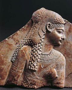 Ptolemaic period Bas relief fragment portraying Cleopatra.