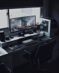 Computer Desk Setup, Gaming Room Setup, Computer Rooms, Pc Setup, Home Office Setup, Home Office Design, Desk For Two, Retro Desk, Game Room Design