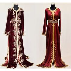 Burgundi bordeaux Royal moroccan caftan maxi dress wedding with gold embroideries and incrusted crystals and pearls Long Black Evening Dress, Long Sleeve Evening Dresses, Dress Long, Velvet Evening Gown, Evening Gowns, Black Velvet Dress, Dress Black, Moroccan Caftan, Maxi Dress Wedding