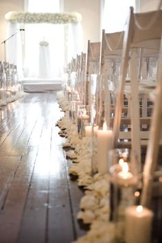 wedding ceremony aisle indoors white rose petals and candles     Style Me Pretty | Gallery | Picture | #88828