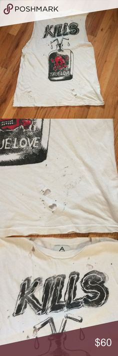 UNIF True Love Kills Muscle Tee Natural Distressing to this Tee. Some black marks towards the bottom but adds the to the grunge look of this muscle tee. 52% Modal 48% Cotton. Tops Muscle Tees