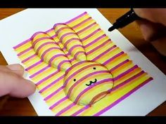 How to draw rabbit coloring pages 3d Hand Drawings, 3d Art Drawing, Art Drawings For Kids, Drawing For Kids, Art For Kids, Crafts For Kids, Drawing Step, Drawing Ideas, Illusion Kunst