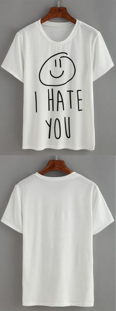 White Letters Print T-shirt. Casual and funny graphic print T-shirt for girls. Love summer with so much fun! US$8.99