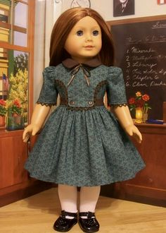 Teal & Brown Frock - Made to Fit American Girl Doll Molly or Emily, By KeeperDollyDuds Sewing Doll Clothes, Girl Doll Clothes, Doll Clothes Patterns, Clothing Patterns, Girl Dolls, American Girl Doll Molly, American Doll Clothes, American Girls, Baby Dress