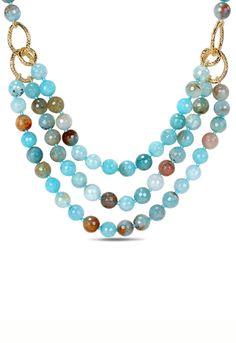 Aqua Blue Agate & Gemstone Three Strand Necklace.