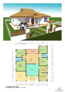 pelan rumah kampung 4 bilik | small house design, modern