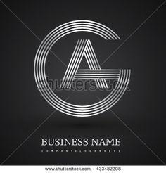 Letter GA or AG linked logo design circle G shape. Elegant silver colored letter symbol. Vector logo design template elements for company identity.